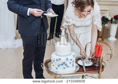 Newlywed Couple Cutting Cake At Wedding Reception, Bride And Groom Slicing Delicious White Cake Deco