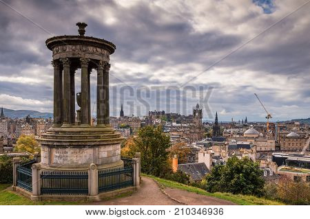 Dugald Stewart Monument on Calton Hill, in central Edinburgh which offers great views of the city skyline and has several iconic monuments