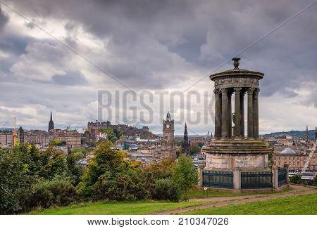 Edinburgh Skyline and Dugald Stewart Monument,  on Calton Hill in central Edinburgh which offers great views of the city skyline and has several iconic monuments