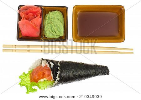 Sushi with salmon of cone. Studio Photo