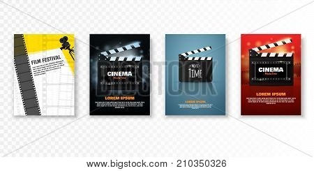 Set of vector cinema posters or flyers. Film festival promotion. Vector illustration