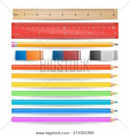 Colored Pencils, Eraser, Measuring Ruler Isolated Set Vector. Realistic School Tools Isolated On White