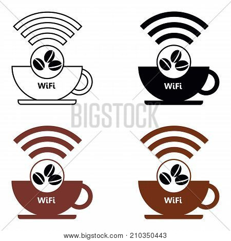 Set Internet cafe WiFi Cafe  poster design, vector illustration