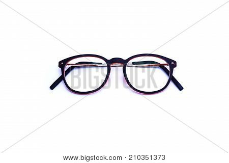 Black eye glasses Isolated on white background for the visually problem people.