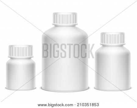 Collection of bottles for medicine pills or drugs isolated on white background. Blank white mockup or template