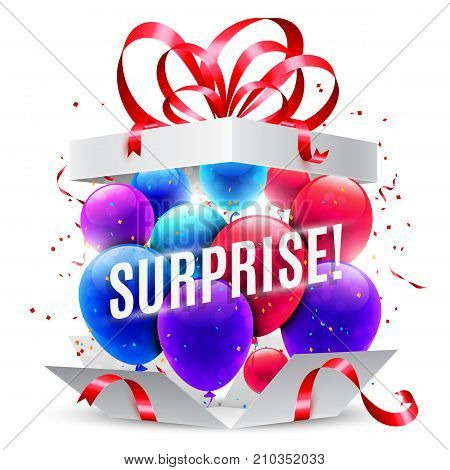 Opened surprise gift box with red bow, confetti and balloons