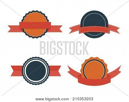 Set of Flat Badges. Vintage vector badge labels and ribbons on white background. Retro design elements for web print.
