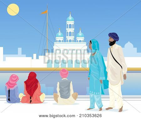 an illustration of a sikh couple and devotees at an ornate temple dressed in traditional punjabi clothes under a blue sky
