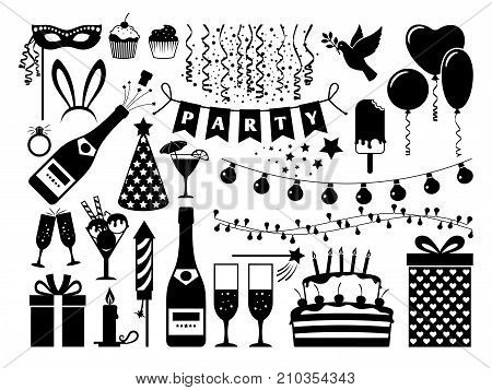 Party black icons set on white background. Birthday cake and flags, gift and serpentine, drinking glasses and party hats, vector icons