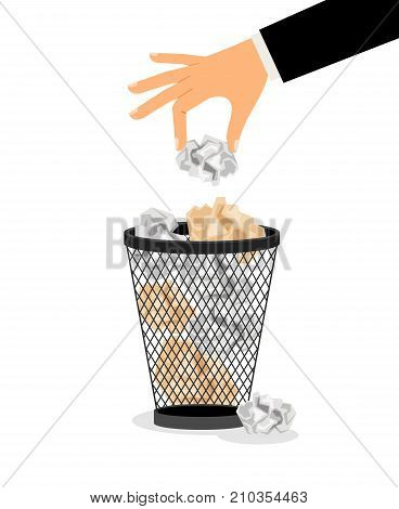 Hand with crumpled paper. Putting trash in trash can vector icon