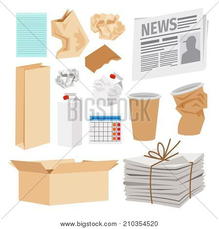 Paper trash icons collection. Vector icons of carton boxes, paper cups, stack of newspapers, milk packages