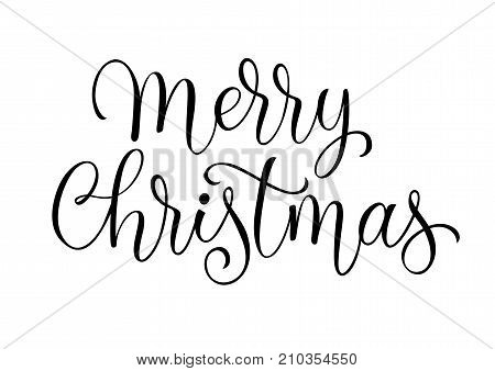 Merry Christmas lettering. Catholic Christmas. Handwritten text, calligraphy. Can be used for greeting cards, posters, leaflets and brochure