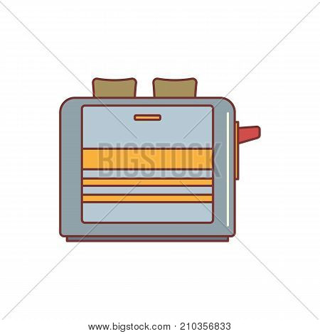 Toaster cartoon icon vector illustration for design and web isolated on white background. Toaster vector object for label web and advertising