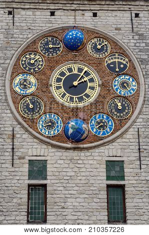 The jubilee clock, designed and made by astronomer and clockmaker Louis Zimmer, on the Zimmer tower in Lier, Belgium, also known as the Cornelius tower, that was originally a keep of Lier's fourteenth century city fortifications. In 1930