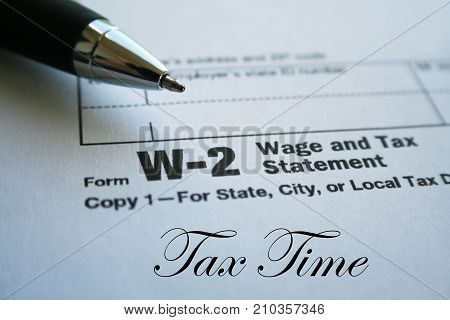 W-2 Tax Form Close Up High Quality