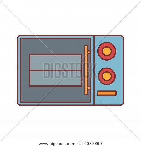 Microwave oven cartoon icon vector illustration for design and web isolated on white background. Microwave oven vector object for label web and advertising