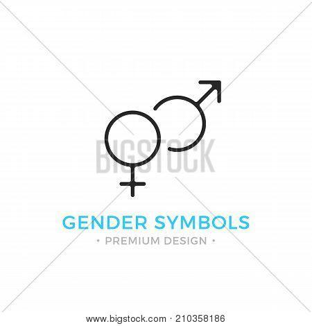 Gender symbols line icon. Masculine and feminine gender symbols. Black vector icon isolated on white background