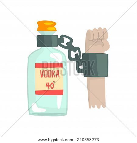 Bottle of vodka with shackles, bad habit, alcoholism concept cartoon vector Illustration on a white background