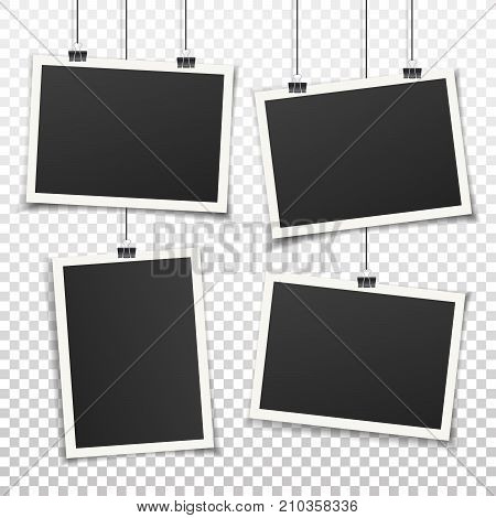 Set of 4 vintage photo frames. Vintage style. Vector illustration. Photorealistic Vector EPS10 mockups. Retro photo frame templates hanging on wall for your photos.