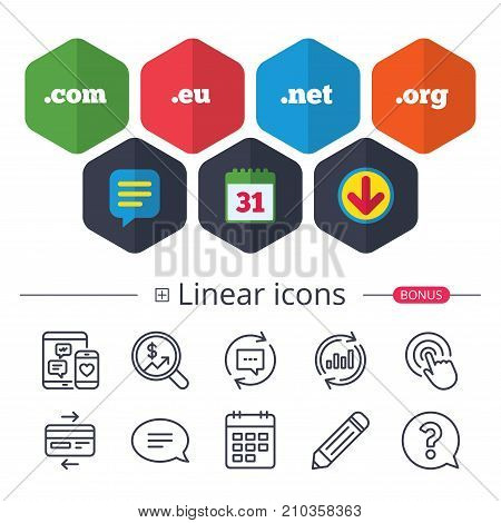 Calendar, Speech bubble and Download signs. Top-level internet domain icons. Com, Eu, Net and Org symbols. Unique DNS names. Chat, Report graph line icons. More linear signs. Editable stroke. Vector