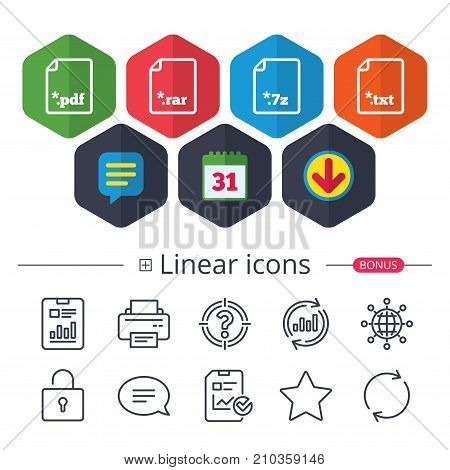 Calendar, Speech bubble and Download signs. Download document icons. File extensions symbols. PDF, RAR, 7z and TXT signs. Chat, Report graph line icons. More linear signs. Editable stroke. Vector