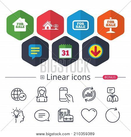 Calendar, Speech bubble and Download signs. For sale icons. Real estate selling signs. Home house symbol. Chat, Report graph line icons. More linear signs. Editable stroke. Vector