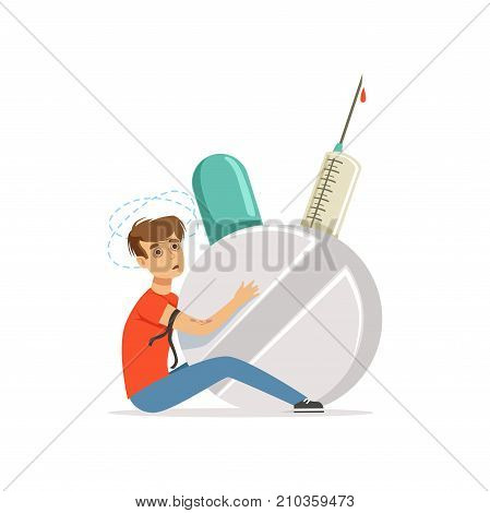 Drug addicted man with giant syringe and pill vector Illustration on a white background