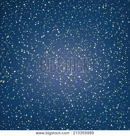 Snowfall, Snow Falls in the Night Sky, White Snowflakes on Dark Blue Background, Vector Illustration