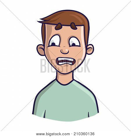 A frightened or puzzled young man or boy. Vector portrait Illustration, isolated on white background.