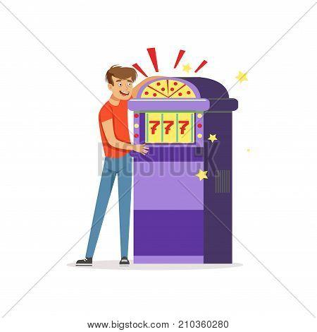 Crazy man gambling at slot machine, bad habit, gambling addiction vector Illustration on a white background
