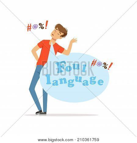 Foul language, man swearing, bad habit vector Illustration on a white background