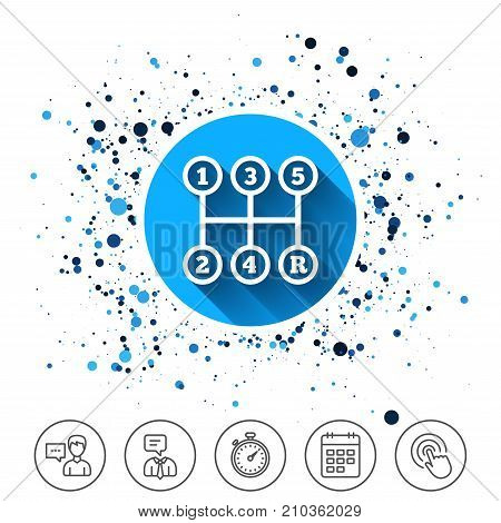 Button on circles background. Manual transmission sign icon. Automobile mechanic control symbol. Calendar line icon. And more line signs. Random circles. Editable stroke. Vector