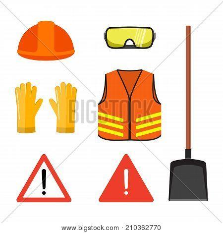 Road works conceptual set isolated on white flat vector illustration. Safety head helmet, glasses, gloves, neon orange vest shovel, warning signs. Safety equipment set, Construction equipment elements.
