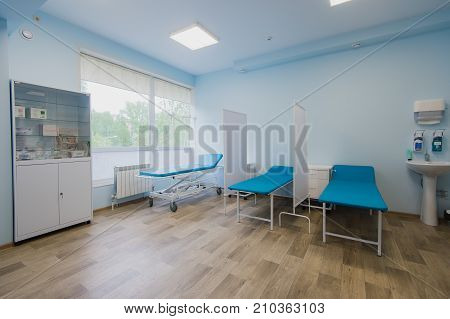 Interior of surgical recovery area in hospital.