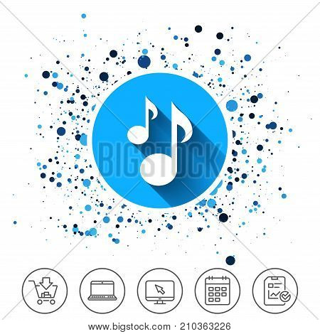 Button on circles background. Music notes sign icon. Musical symbol. Calendar line icon. And more line signs. Random circles. Editable stroke. Vector
