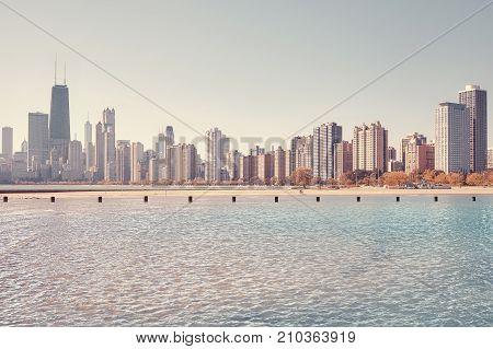 Chicago City Skyline Seen From Lake Michigan, Usa.