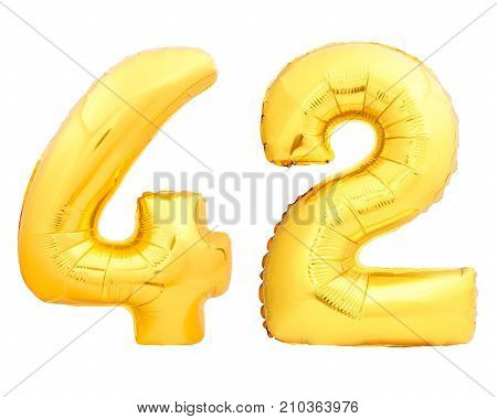 Golden number 42 fourty two made of inflatable balloon isolated on white background