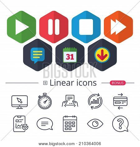 Calendar, Speech bubble and Download signs. Player navigation icons. Play, stop and pause signs. Next song symbol. Chat, Report graph line icons. More linear signs. Editable stroke. Vector