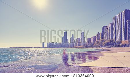 Vintage Toned Photo Of Chicago City Waterfront, Usa