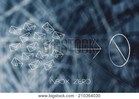 Email Envelopes Arrow And Number Zero