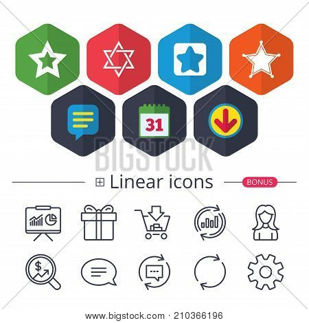 Calendar, Speech bubble and Download signs. Star of David icons. Sheriff police sign. Symbol of Israel. Chat, Report graph line icons. More linear signs. Editable stroke. Vector poster