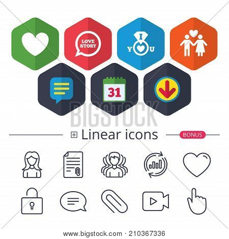 Calendar, Speech bubble and Download signs. Valentine day love icons. I love you ring symbol. Couple lovers sign. Love story speech bubble. Chat, Report graph line icons. More linear signs. Vector