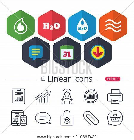 Calendar, Speech bubble and Download signs. H2O Water drop icons. Tear or Oil drop symbols. Chat, Report graph line icons. More linear signs. Editable stroke. Vector