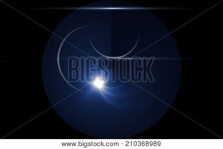 lunar eclipse moon light flare in space background.Abstract digital lens flare in black background.Simple nature flare on space