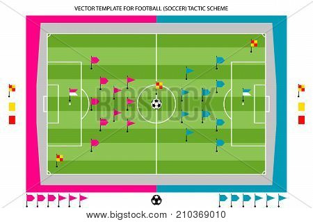 Vector tamplate for Football Soccer tactic colored scheme