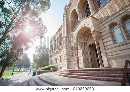 LOS ANGELES CA/USA - June 28 2016: Powell Library at the University of California Los Angeles. UCLA is a public university located in Westwood