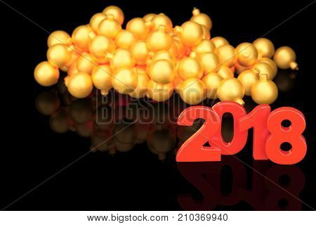 Golden 2018 new year figures with baubles in the back on black background. 3d rendering