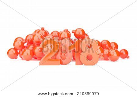 Red 2018 new year figures with baubles in the back isolated on white background. 3d rendering