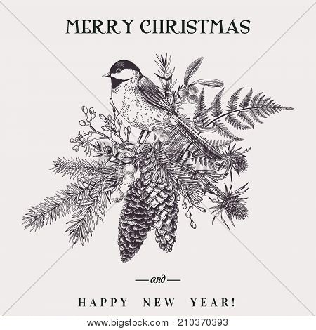 Vector illustration with a bird and a Christmas bouquet. Botany. Fern spruce cone juniper thistle mistletoe snowberry and titmouse. Vintage style. Engraving. Black and white.