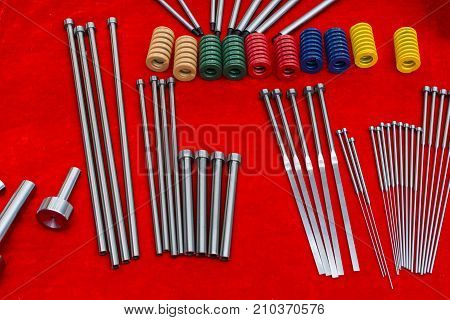 Ejector pins and spring for injection mold ; tooling